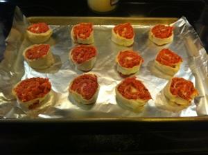 Pinwheels on baking sheet